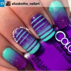 Teal and purple nail designs are on the rise in fashion. It is undoubtedly one of the most popular artificial nail designs. You will find that a large number of nail designs can be selected, along with low-key, simple designs, exuding retro elegance Purple Nail Art, Teal Nails, Purple Nail Designs, Toe Nail Designs, Fancy Nails, Diy Nails, Purple Teal, Nails Design, Blue Ombre