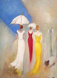 Acrylic Art, Acrylic Painting Canvas, Canvas Art, African Art Paintings, Rain Art, Umbrella Art, Arte Pop, Female Art, Watercolor Paintings