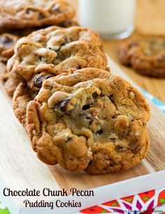 These chocolate chip pecan pudding cookies are the things sweet dreams are made…