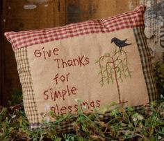 """Stichery. Give thanks for simple blessings. 8 1/2"""" W x 7"""" H."""