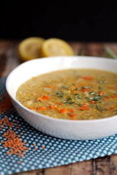 This Slow Cooker Lemon Rosemary Lentil Soup is one of the easiest soups to ever come out of your kitchen. Fresh vegetables, lemon and rosemary become an amazingly hearty soup with minimal effort. Carrots, onion, yellow bell pepper and red lentils are flavored with garlic and a dash of cayenne pepper and slow cooked until tender.
