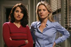 NYPD Blue Jacqueline Obradors as Detective Rita Ortiz and Jessalyn Gilsig as Detective Kelly Ronson Jacqueline Obradors, Jessalyn Gilsig, Nypd Blue, September 21, Detective, Film, Women, Fashion, Women's Leather Pants