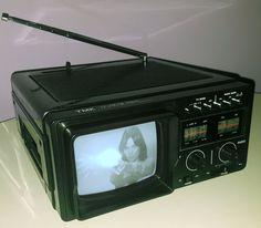 "TMK TOYOMENKA VINTAGE TELEVISION PORTABLE TV AM FM RADIO 5"" B&W SCREEN #Toyomenka"