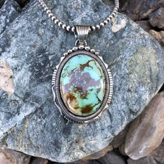 Stellar Wide Double Trim Royston Turquoise Pendant | Native American Jewelry For Sale - #1 Rated & 100% Authentic