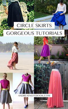 6 gorgeous circle skirt tutorials // AndreasNotebook.com