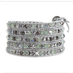 """Victoria Emerson Bracelets - only 2 in stock Victoria Emerson 5-Wrap bracelet with silver dorado and mint green crystals on silver leather.  100% hand made with care. Unbelievable attention to detail.  Each bracelet has one clasp with closures at 34"""", 35"""" and 36"""". Comes with a Victoria Emerson Pouch & Engraved Victoria Emerson Nickel-Free Clasp. Jewelry Bracelets"""
