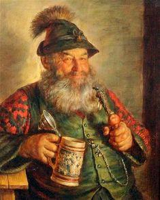 Vintage Graphics - Hvvoj Melkus - Tyrolean gentlemen with tankards. Fantasy Warrior, Fantasy Art, Oktoberfest Beer, Beer Pictures, Beer Art, German Beer, Beer Festival, Art Forms, Beer