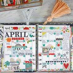 April monthly layout in my Carpe Diem planner, decorated with Simple Stories Life in Color collection. Cute Planner, Mini Happy Planner, Planner Layout, Planner Ideas, Simple Stories, Filofax, Tracker Mood, Digital Bullet Journal, Planner Decorating