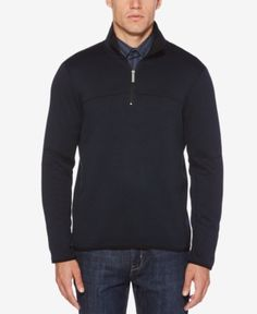 Perry Ellis Men's Knit Quarter-Zip Sweatshirt - Blue XXL