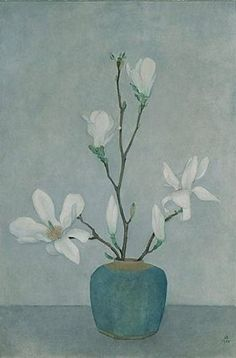 Magnolias in a Blue Pot by Jan Boon (1958)