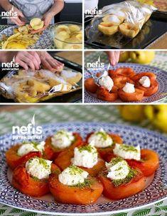 Malzemeler 4 adet ayva 16 yemek kaşığı toz şeker 2 adet çubuk tarçın 4-5 adet Karanfil Yarım su bardağı su Üzeri için: Kaymak (dilerseniz dondurma ya da... - Lale Torun - Google+ Snack Recipes, Healthy Recipes, Snacks, Good Food, Yummy Food, Baked Potato, Food And Drink, Tasty, Homemade