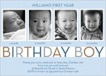 Idea for first bday party invites. I like the pics showing changes in the past year.