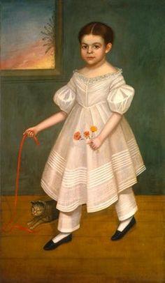 Girl with Kitten by Joseph Goodhue Chandler (1813 – 1884, American)