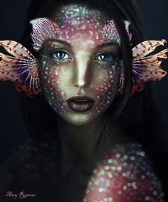 Enchanting Headdresses Inspired by Elysian Fantasy and Fairytales - Makeup Art - Painting Boy Evil Mermaids, Fantasy Mermaids, Mermaids And Mermen, Dark Mermaid, Mermaid Art, Sfx Makeup, Costume Makeup, Halloween Art, Halloween Makeup