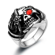 Men's Stainless Steel Cast Pirate Skull Ring w Red CZ Eye #Unbranded #Statement
