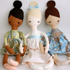 Rag doll pattern! Jane PDF Pattern. Love the bun!