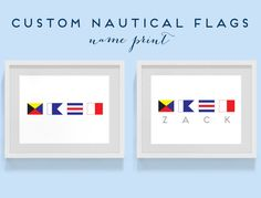 8x10 Print Custom Nautical Flag Alphabet Name - Kid's Room, Decor, Beach Decor, Ship, Nautical