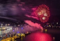 The Fourth of July fireworks at Navy Pier illuminate the waterfront in downtown Chicago.