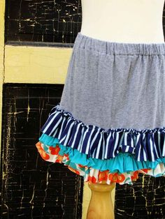 cute skirt with ruffles, made from t-shirts