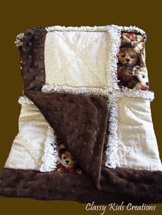Minky Teddy Bear Baby Rag Quilt by classykidscreations on Etsy, $50.00