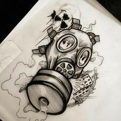 Graffiti Art, Wie Zeichnet Man Graffiti, Graffiti Drawing, Graffiti Lettering, Graffiti Tattoo, Gas Mask Tattoo, Kritzelei Tattoo, Body Art Tattoos, Sleeve Tattoos