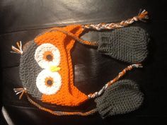 Owl hat n mitts for grandson Owl Hat, Knitted Hats, Knitting, Crochet, Tricot, Breien, Stricken, Ganchillo, Weaving