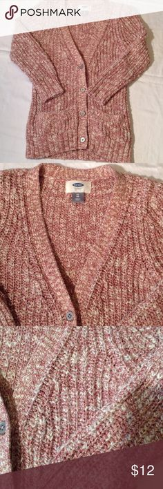 Old Navy girls cardigan. Size 5T Old Navy Cardigan for girls. Size 5T. Colors: dark rose pink, off white with a gold sparkle. New condition. From an animal and smoke free home.  No trading or Paypal. Old Navy Jackets & Coats