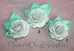 Pearl White Rose. Polymer clay Flower. Jewelry Rose. For manual works.Rose bead. Rose for application. di FlowerClaySupplies su Etsy