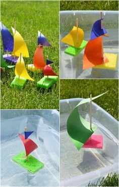My Blue Boat. Fine Motor. Sensory play. Sponge Sailboat Craft for Kids - Easy Peasy and Fun
