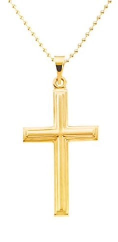 New Solid 14k Yellow Gold Christian Cross Pendant 1mm Bead Chain Necklace >>> Continue to the product at the image link.