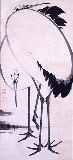mari-5: 双鶴図 Ito Jyakutyu/伊藤 若冲 from MIHO MUSEUM. I love this crane by Ito Jyakutyu. This Crane is like an egg. Why is there no Jyakutyu tag on tumblr?