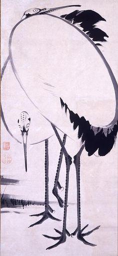 Cranes by ITO Jakuchu (1716-1800), Japan伊藤若冲