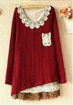 lulula-fashion shopping mall — Cute Lace Chiffon Spliced Knit Dress cute woodland folk style dress for spring Mode Hippie, Mode Boho, Altered Couture, Fat Fashion, Boho Fashion, Modest Fashion, Diy Clothing, Sewing Clothes, Abaya Mode