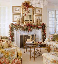 Pretty French country Christmas mantle decor