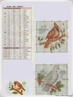 Схемы вышивки. Новогодняя и цветочная тематика (28) (526x700, 257Kb)