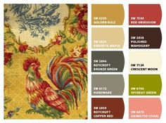 Country French design & pallette of colors by Sherwin-Williams-colorway for patchwork quilted runner Country Paint Colors, French Country Colors, French Country Kitchens, French Country Cottage, Kitchen Country, French Country Fabric, French Kitchen, Country Color Scheme, French Colors