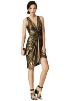Halston Heritage Gold Studio Dress Metallic NWT Size 12 14 Large #HalstonHeritage