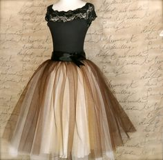 I would totally wear this.  But where to?  Brown and cream tutu for women One of our by TutusChicBoutique