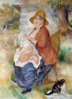 Maternidad; La mujer alimentando a su bebé - 1886 P.A. Renoir