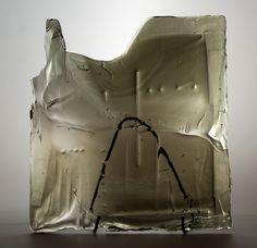 Lubomir Blecha, the glass relief, 1969, Novy Bor (Haida), M: 43,0 x 39,0 cm, Czechoslovakia