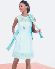 J.Crew women's perforated a-line dress, pointelle boyfriend Collection cashmere, and mixed crystal pendant necklace...find it at Louisiana Boardwalk Outlets! www.louisianaboardwalk.com