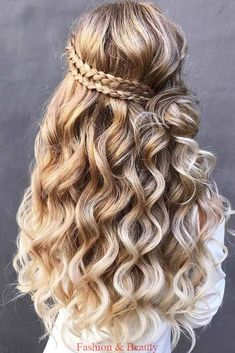 30 Wedding Hairstyles Half Up Half Down With Curls And Braid, Peinados, wedding hairstyles half half curls braid with braided crown on long blonde hair hair_by_zolotaya. Face Shape Hairstyles, Box Braids Hairstyles, Pretty Hairstyles, Braided Crown Hairstyles, Formal Hairstyles, Hair With Braids, Curled Hair With Braid, Curly Braids, Braided Hairstyles For Black Women