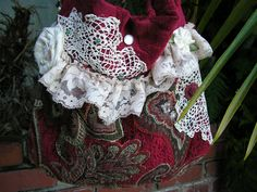 Velvet Chenille Bag, gorgeous thick red tapestry fabric handbag, lace doily embellished
