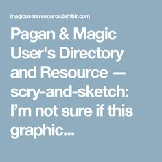 Pagan & Magic User's Directory and Resource — scry-and-sketch: I'm not sure if this graphic...