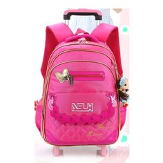 73.92$  Buy here - http://aligan.worldwells.pw/go.php?t=32714229536 - Winter Autumn Girl's Wheeled Student Schoolbag Cute Bow Girls Backpack Trolley Bag Travel Bags Girls School Bags Nylon Satchel 73.92$