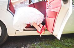 red shoes white wedding dress