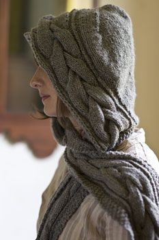 Genius. I found instructions for a different hooded scarf (that I may or may not ever attempt) here: http://d-made.com/knitting/patterns/hoodie_scarf.pdf