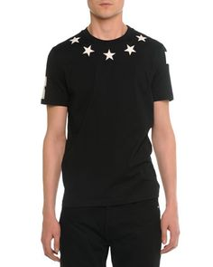 Star-Print Collared Cuban Tee, Black by Givenchy at Neiman Marcus.