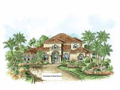 Eplans Mediterranean-Modern House Plan - Casual Living Mediterranean Home - 3130 Square Feet and 3 Bedrooms from Eplans - House Plan Code HWEPL68783