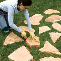 Imbeding stone walkway into existing lawn